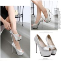 SHH23838 MATERIAL PU HEEL 14CM COLOR SILVER SIZE 36