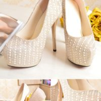 SHH2396 MATERIAL PU HEEL 14CM COLOR GOLD SIZE 34