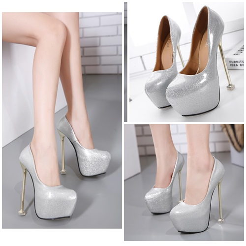 SHH3166 IDR.235.000 MATERIAL PU HEEL 16.5CM COLOR SILVER SIZE 35,36,37,38,39