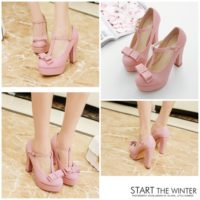SHH602A MATERIAL PU HEEL 11CM COLOR PINK SIZE 35