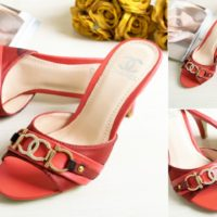 SHH634913 MATERIAL CANVAS PU HEEL 8.5CM COLOR RED SIZE 35
