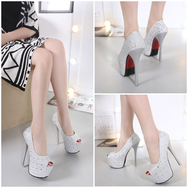 SHH6696 IDR.230.000 MATERIAL PU HEEL 16CM COLOR SILVER SIZE 35,36,37,38
