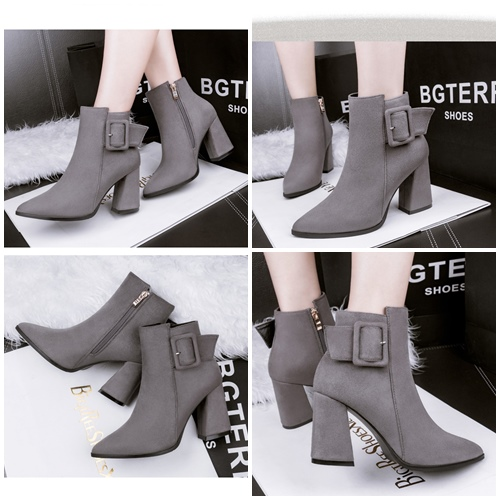 SHH8333 MATERIAL PU HEEL 11CM COLOR GRAY SIZE 35