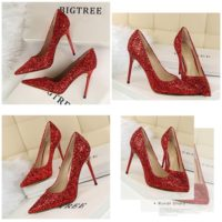 SHH92191 MATERIAL PU HEEL 9.5CM COLOR RED SIZE 35