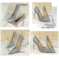 SHH92191 MATERIAL PU HEEL 9.5CM COLOR SILVER SIZE 35