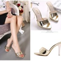 SHH9771 IDR.205.000 MATERIAL PU HEEL 10CM COLOR GOLD SIZE 36,37,38,39