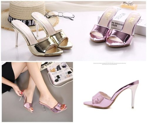 SHH9771 MATERIAL PU HEEL 10CM COLOR PINK SIZE 36