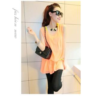 T3842 IDR.11O.OOO MATERIAL COTTON+CHIFFON-LENGTH-INNER-64CM-OUTER-76CM-BUST-96CM-(WITH-BELT) WEIGHT 230GR COLOR ORANGE