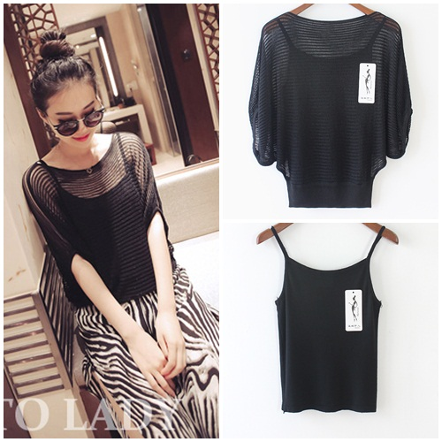 T39842-2PCS IDR.118.000 MATERIAL KNITTED LENGTH46CM BUST110CM WEIGHT 250GR COLOR BLACK