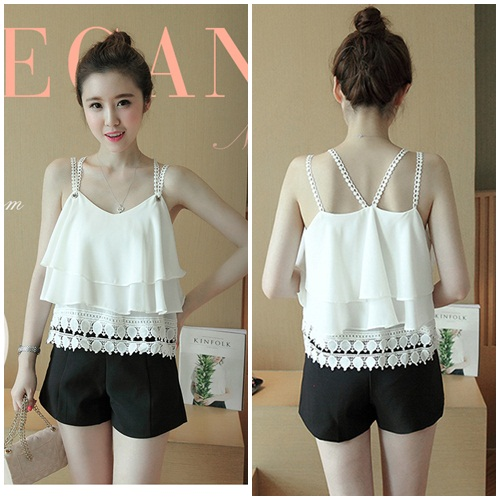 T55355 IDR.98.000 MATERIAL CHIFFON LENGTH53CM BUST98CM WEIGHT 200GR COLOR WHITE