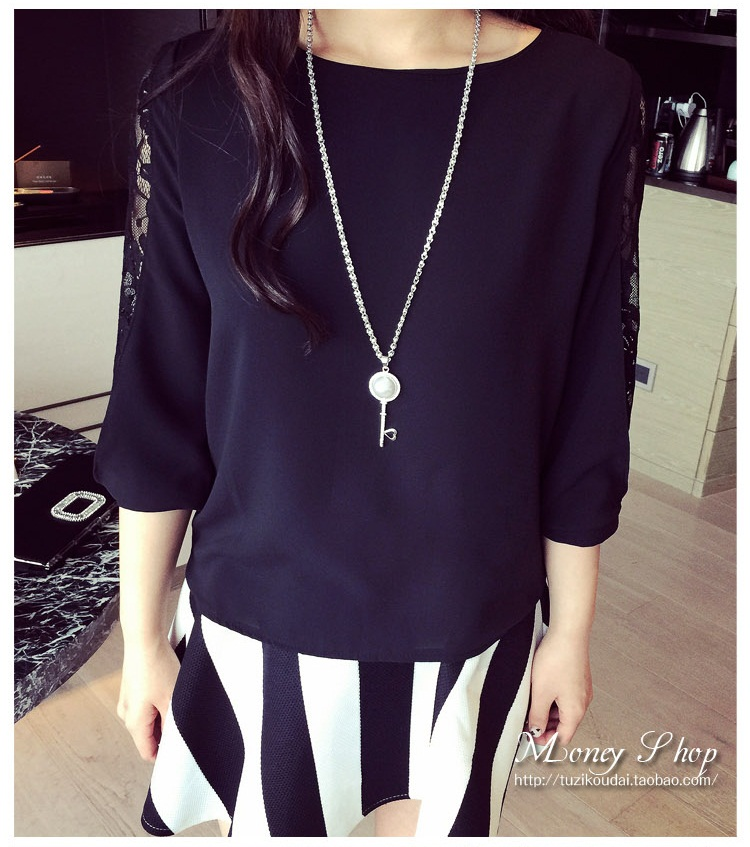 T6773 IDR.110.000 MATERIAL CHIFFON+LACE LENGTH57CM BUST94CM WEIGHT 200GR COLOR BLACK