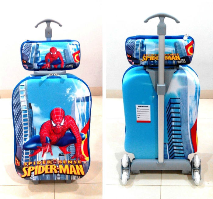 TA006 Tas Trolley 3D Anak Sekolah Spiderman 2in1 Size 32x12x40cm
