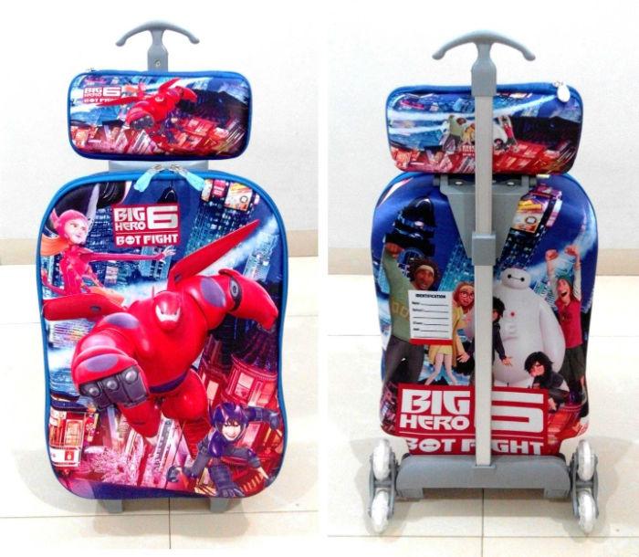 TA007 Tas Troli 3D Anak Sekolah Big Hero 6 2in1 Size 32x12x40cm