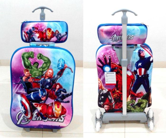 TA008 Tas Trolley 3D Anak Sekolah Avengers 2in1 Size 32x12x40cm