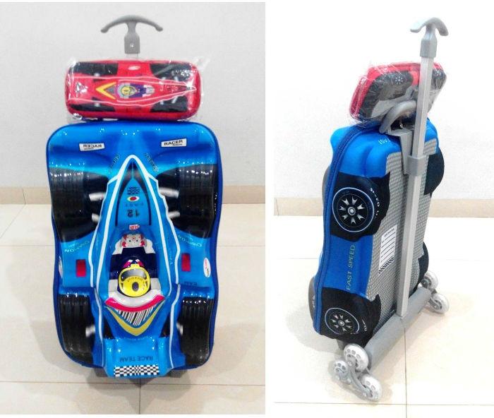 TA015 IDR 220.000 Tas Troli 3D Anak Sekolah Formula 1 Blue 2in1 Size 32x12x40cm