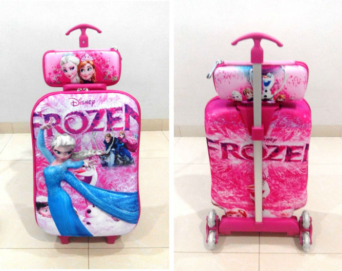 TA017 IDR 220.000 Tas Troli 3D Anak Sekolah Frozen Pink 2in1 Size 32x12x40cm