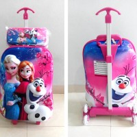 TA021 Tas Trolley 3D Anak Sekolah Frozen Elsa Pink 2in1