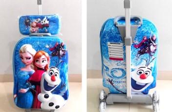 TA022 IDR 220.000 Tas Troli 3D Anak Sekolah Frozen Elsa Blue 2in1 Size 32x12x40cm