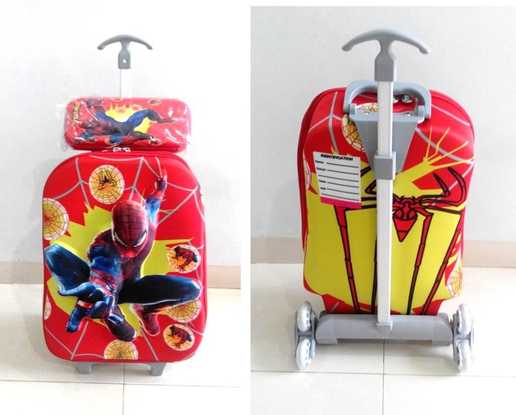 TA024 IDR 220.000 Tas Troli 3D Anak Sekolah Spiderman Red 2in1 Size 32x12x40cm