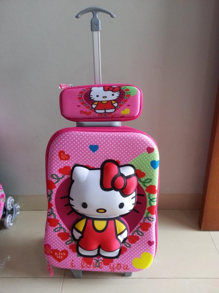 TA025 IDR 220.000 Tas Troli 3D Anak Sekolah Hello Kitty 2in1 Size 32x12x40cm.jpg