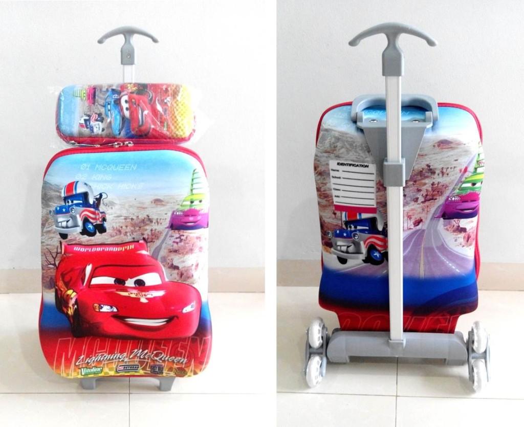 TA026 IDR 220.000 Tas Troli 3D Anak Sekolah Cars Red 2in1 Size 32x12x40cm