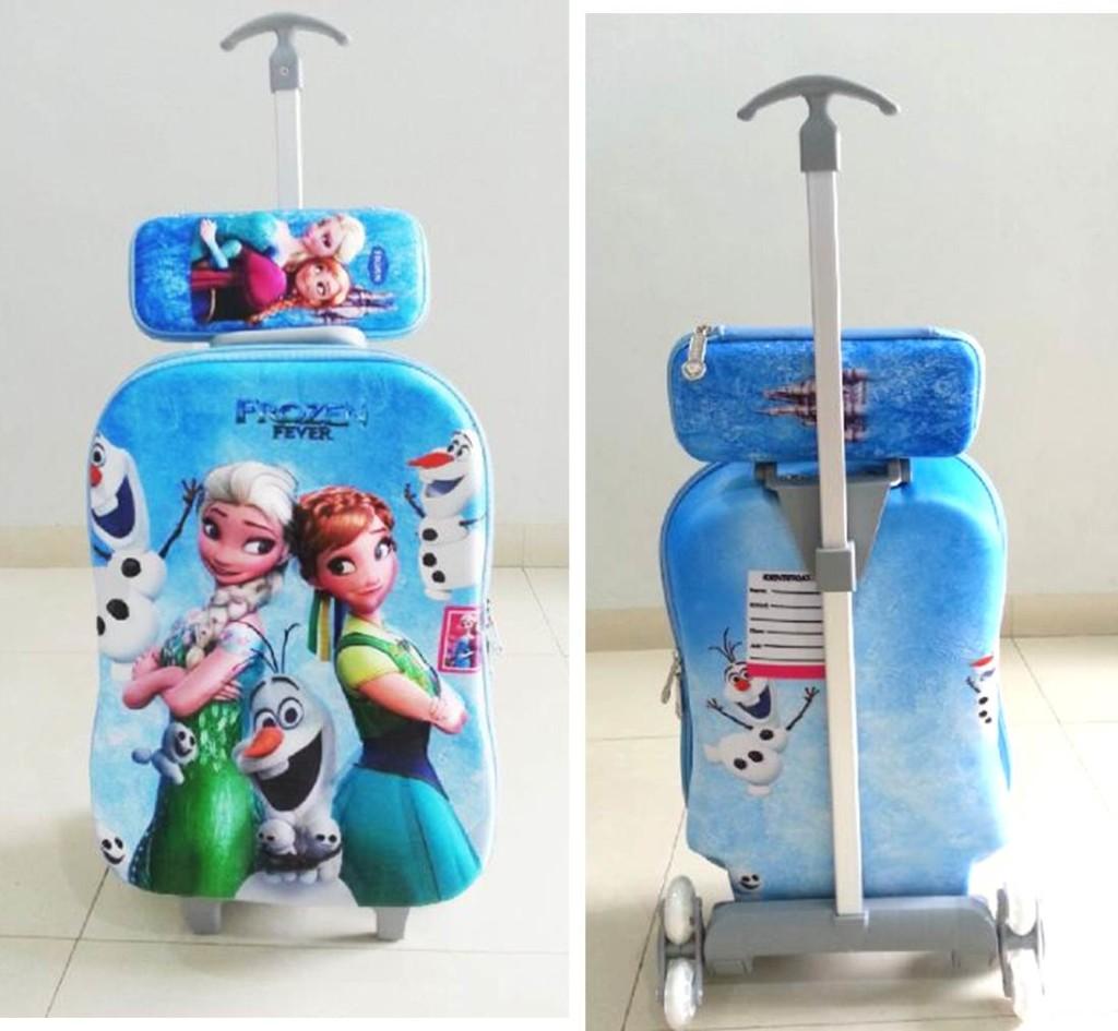 TA031 IDR 220.000 Tas Troli 3D Anak Sekolah Frozen Elsa Blue 2in1 Size 32x12x40cm