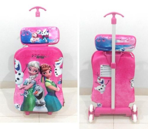 TA032 IDR 220.000 Tas Troli 3D Anak Sekolah Frozen Regne Pink New 2in1 Size 32x12x40cm