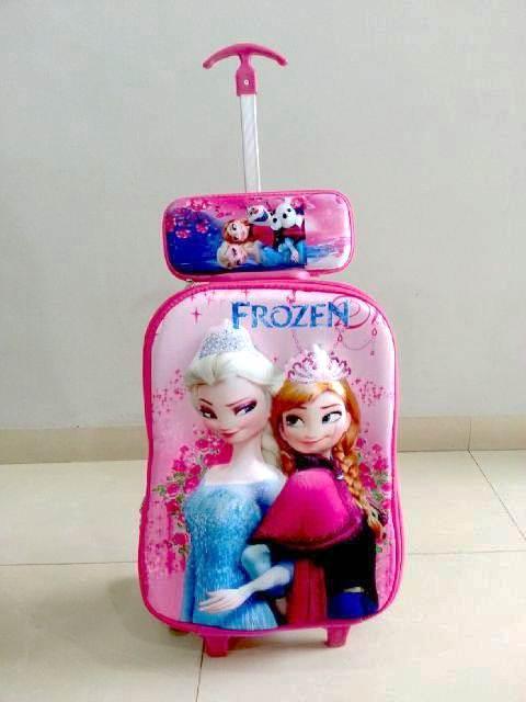 TA033 IDR 220.000 Tas Troli 3D Anak Sekolah Frozen Elsa Blue 2in1 Size 32x12x40cm