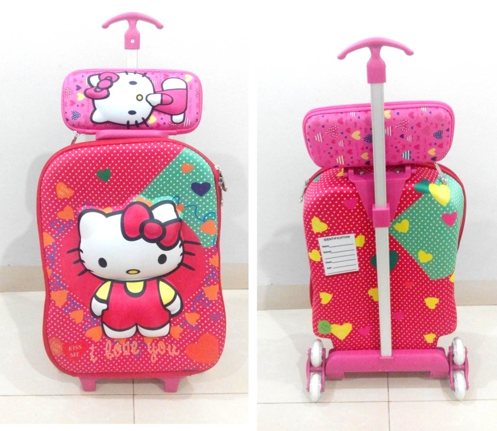 TA036 IDR.220.000 Tas Troli 3D Anak Sekolah Hello Kitty 2in1 Size 32x12x40cm.jpg