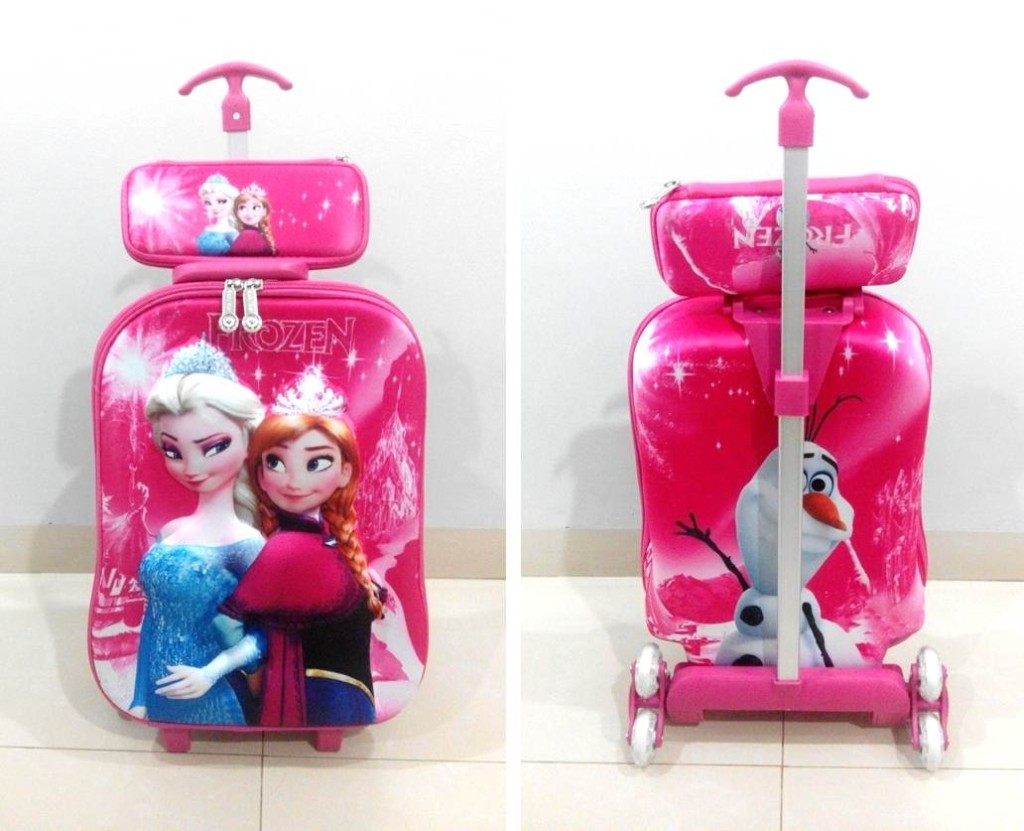TA038 IDR 220.000 Tas Troli 3D Anak Sekolah Frozen Elsa Pink Size 32x12x40cm