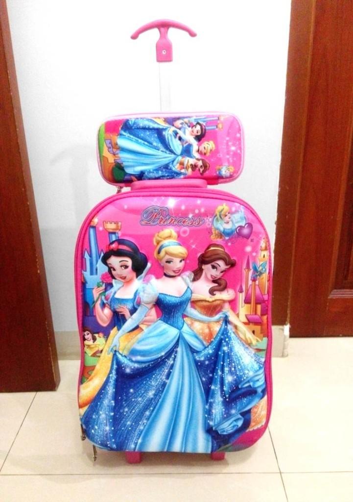 TA041 IDR 220.000 Tas Troli 5D Anak Sekolah Princess Pink Size 32x12x40cm