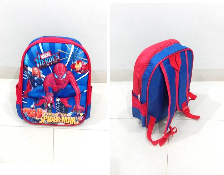 TR009 IDR 90.000 Tas Ransel Spiderman SIZE L29XW12XH32CM WEIGHT 400GR COLOR BLUE
