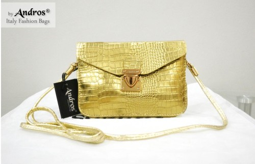 Tas Branded ANDROS - AB9355 IDR 135.000 MATERIAL PU SIZE L18XH13X3CM WEIGHT 350GR COLOR GOLD