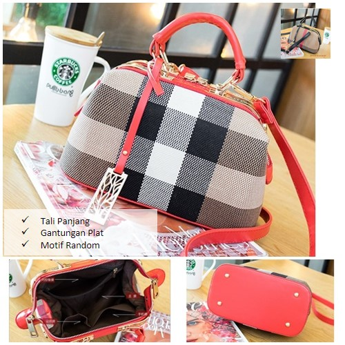 B055 MATERIAL PU SIZE L26XH15XW13CM WEIGHT 700GR COLOR RED ( MOTIF RANDOM )