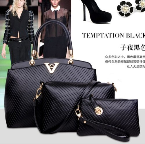 B1036-(3in1) IDR.198.000 MATERIAL PU SIZE BIG-L33XH24XW13CM,MEDIUM-L23XH16XW11CM,SMALL-L17XH11CM WEIGHT 1400GR COLOR BLACK