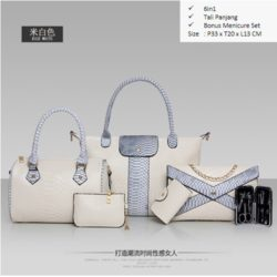 B857 MATERIAL PU SIZE BIG L33XH30XW13 MEDIUM L24H20XW13CM WEIGHT 1700GR COLOR BEIGE