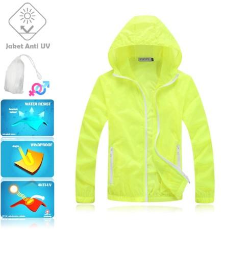 JUV007 IDR 125.000 JAKET UNISEX BAHAN POLYESER ANTI UV SIZE M, XL, XXL WEIGHT 100GR COLOR LIGHT GREEN - Jaket Fashion Anti UV UPF50+