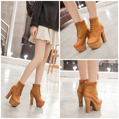 SHB11888 MATERIAL PU HEEL 14CM COLOR BROWN SIZE 35