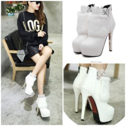 SHB132822 MATERIAL PU COLOR WHITE HEEL 14CM SIZE 35