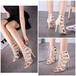 SHB3602 MATERIAL PU HEEL 11CM COLOR APRICOT SIZE 35