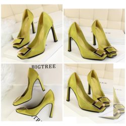 SHH10281 MATERIAL CANVAS HEEL 10CM COLOR GREEN SIZE 35