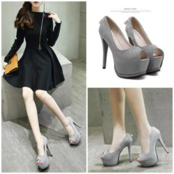 SHH116016 IDR.216.000 MATERIAL SUEDE COLOR GRAY HEEL 14CM SIZE 35,36,37,38,39