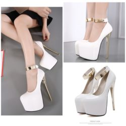 SHH13142 MATERIAL PU HEEL 18CM COLOR WHITE SIZE 35