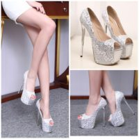 SHH201812 MATERIAL PU HEEL 16CM COLOR SILVER SIZE 35