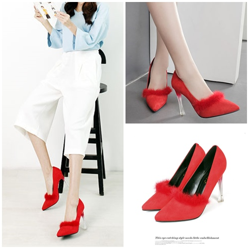 SHH2221 MATERIAL PU HEEL 10CM COLOR RED SIZE 35