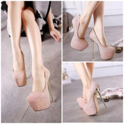 SHH2582 MATERIAL PU HEEL 16.5CM COLOR PINK SIZE 35