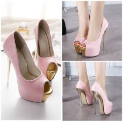SHH25821 MATERIAL PU HEEL 16CM COLOR PINK SIZE 35