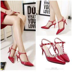 SHH36020 MATERIAL PU HEEL 8.5CM COLOR RED SIZE 35