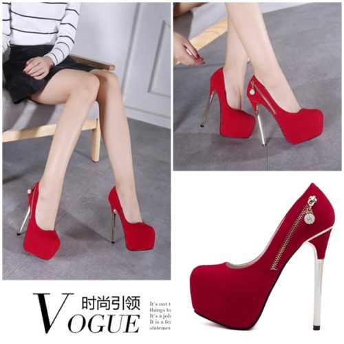 SHH36035 MATERIAL PU HEEL 15CM RED SIZE 35