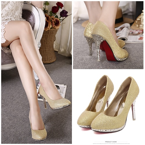 SHH5112 MATERIAL PU COLOR GOLD HEEL 10CM SIZE 35